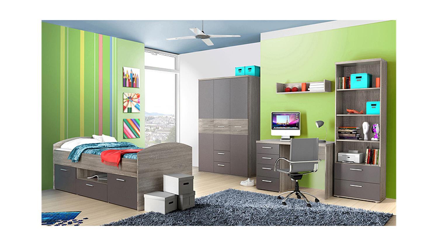 Jugendzimmer JIMMY Kinderzimmer Sonoma Eiche grau matt