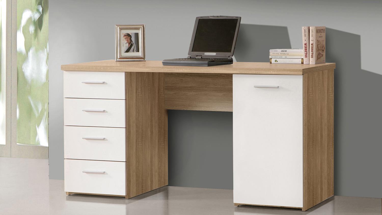Schreibtisch net106 b rotisch in sonoma eiche und wei for Schreibtisch in eiche