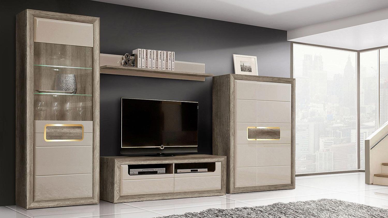 wohnwand 2 tizianos in beige hochglanz antik eiche mit led. Black Bedroom Furniture Sets. Home Design Ideas
