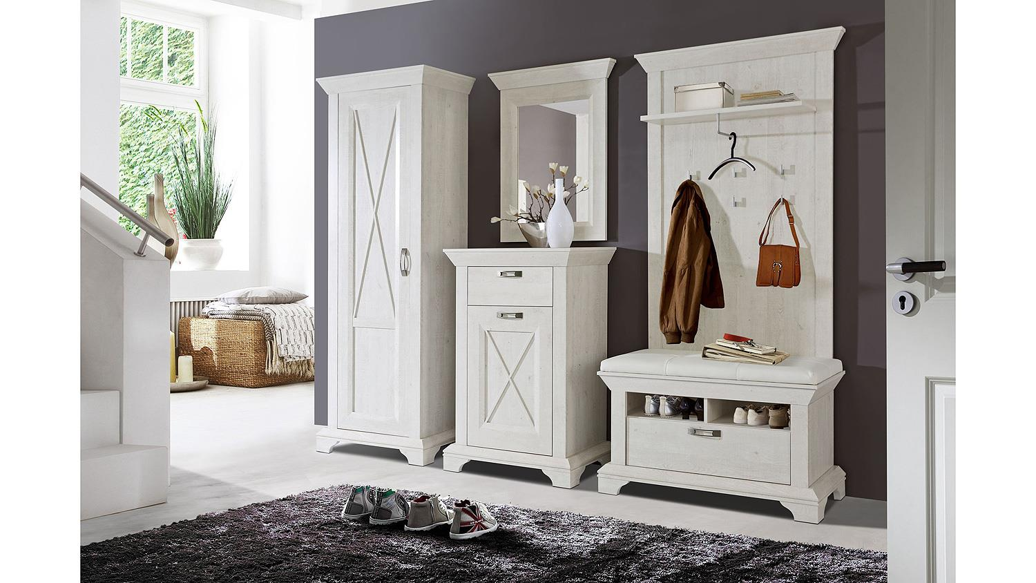 schuhbank kashmir bank garderobe in pinie wei mit kissen. Black Bedroom Furniture Sets. Home Design Ideas