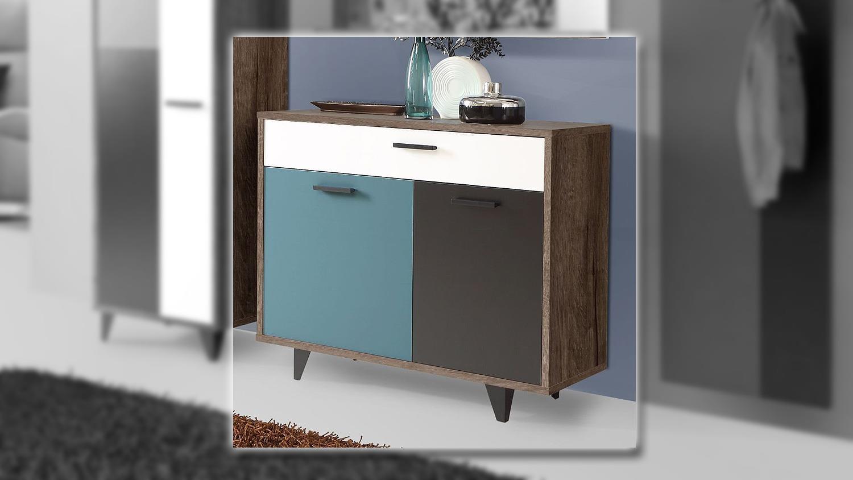 kommode raven schuhschrank schlammeiche wei schwarz gr n. Black Bedroom Furniture Sets. Home Design Ideas