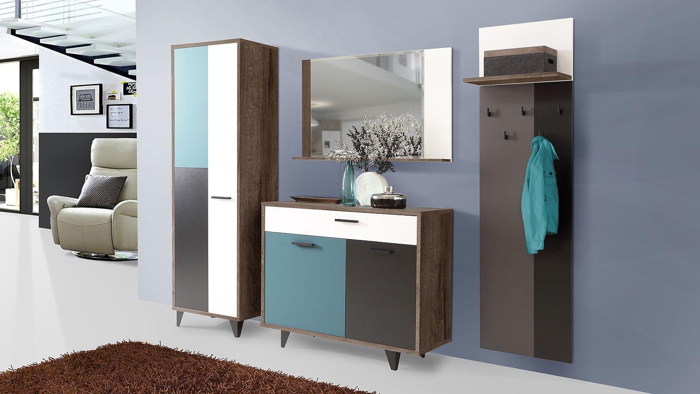 garderobenschrank raven in schlammeiche wei schwarz gr n. Black Bedroom Furniture Sets. Home Design Ideas