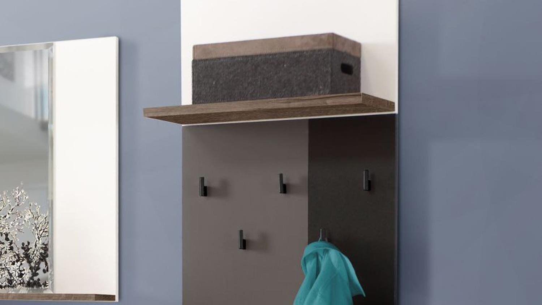 Garderobenpaneel raven schlammeiche wei schwarz gr n grau for Garderobenpaneel grau