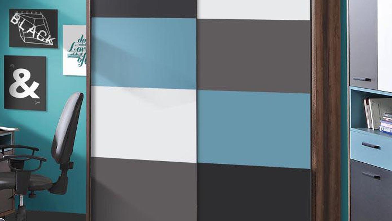 Schwebetürenschrank grau schwarz  RAVEN Schlammeiche weiß schwarz grün grau
