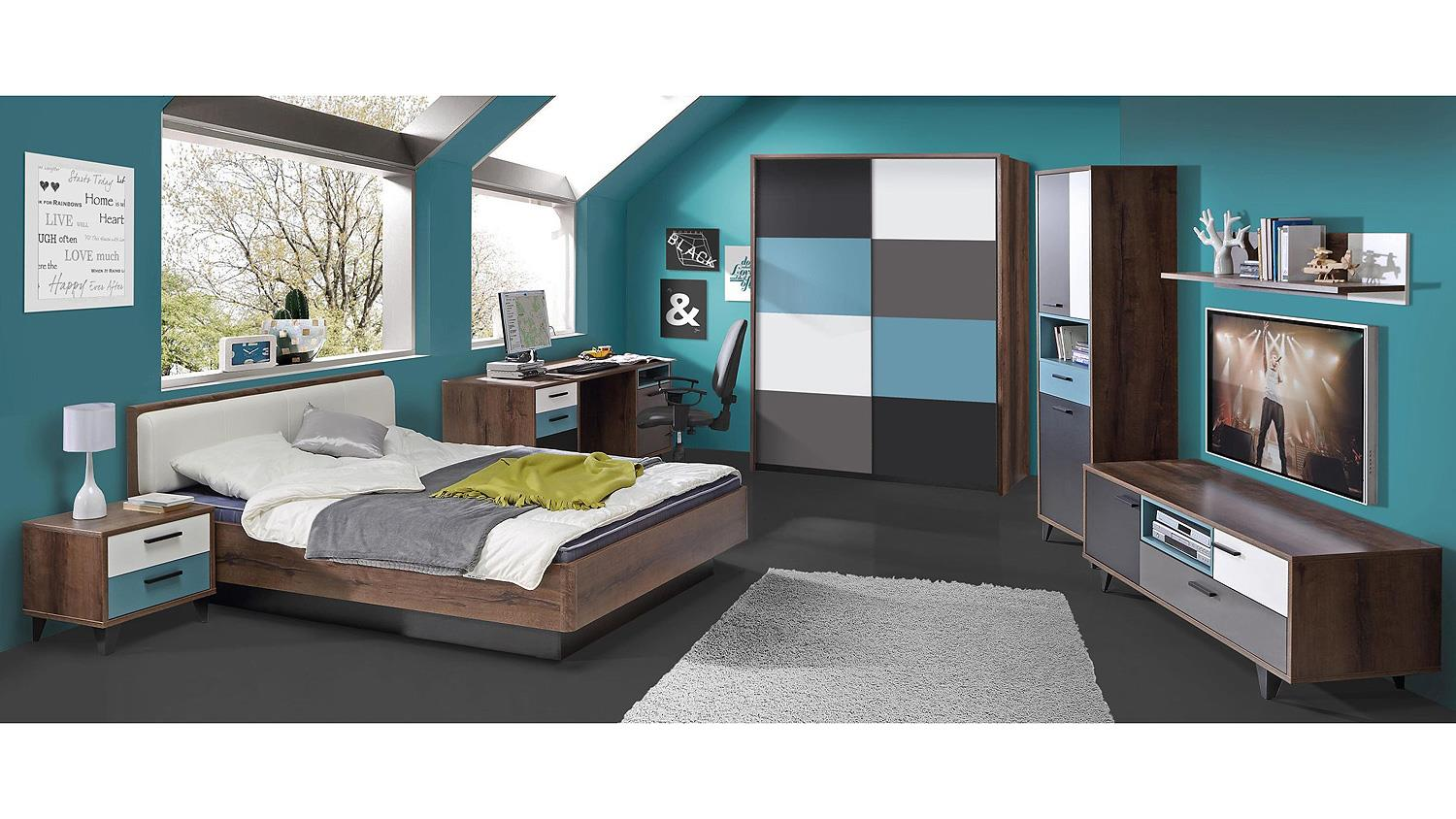 schwebet renschrank raven schlammeiche wei schwarz gr n grau. Black Bedroom Furniture Sets. Home Design Ideas
