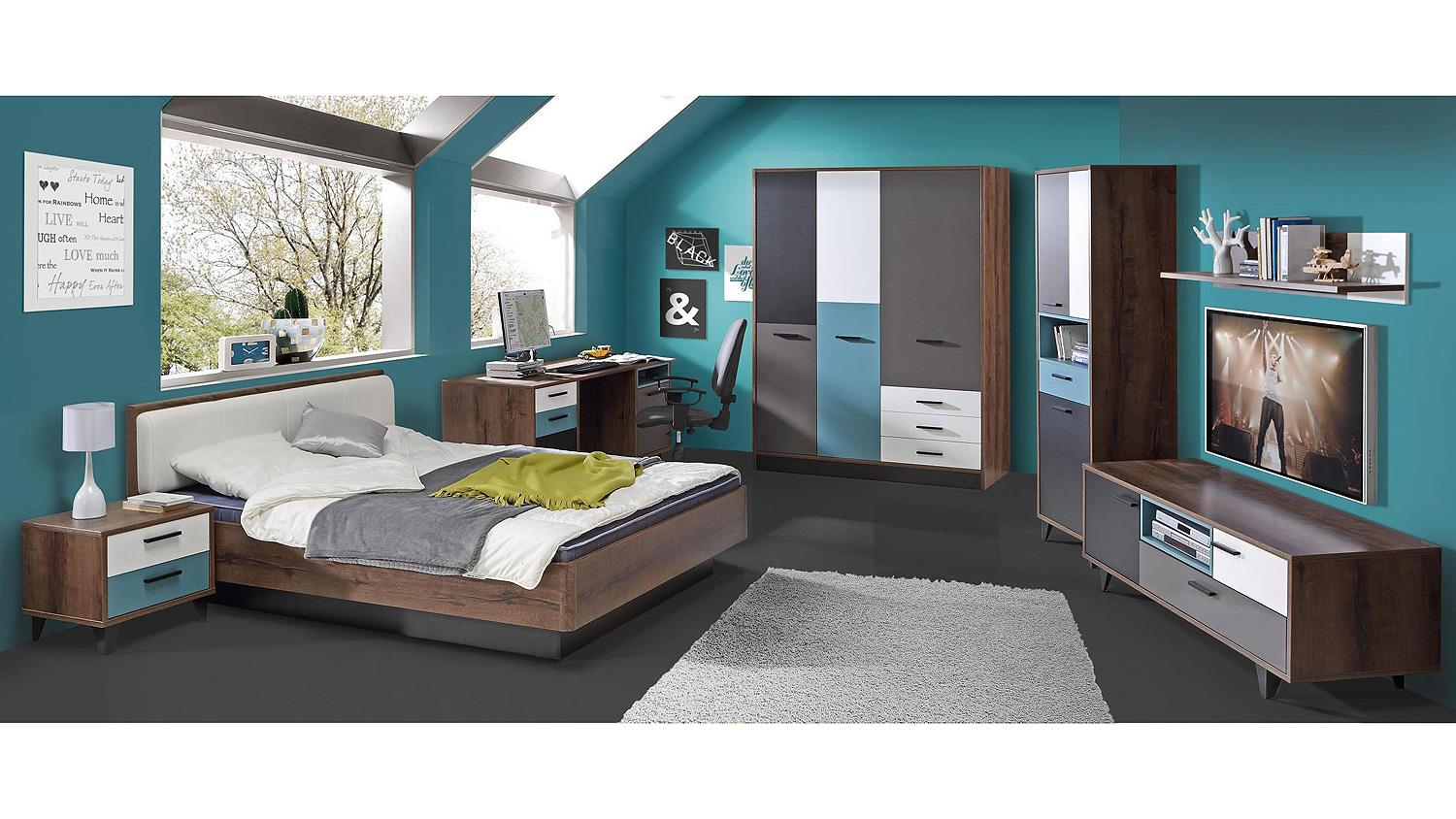 kleiderschrank raven schlammeiche wei schwarz gr n grau. Black Bedroom Furniture Sets. Home Design Ideas