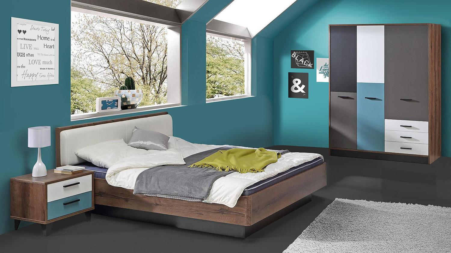 jugendzimmer 2 raven in schlammeiche wei schwarz gr n grau. Black Bedroom Furniture Sets. Home Design Ideas