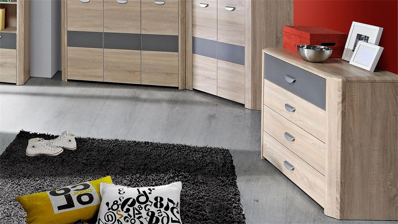 kommode yook sideboard in sonoma eiche grau anthrazit. Black Bedroom Furniture Sets. Home Design Ideas
