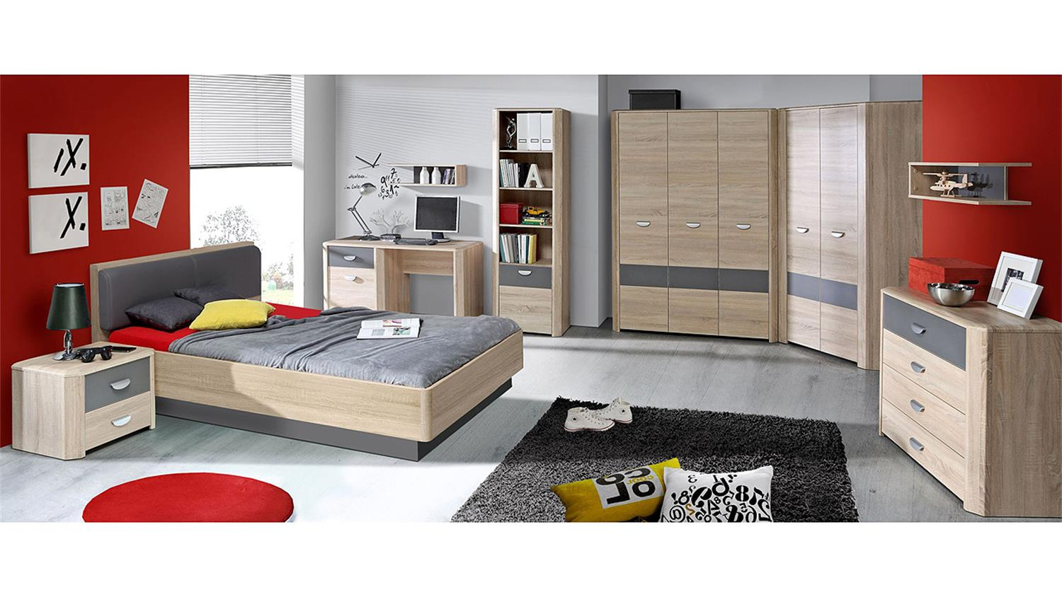 bett yook jugendzimmerbett sonoma eiche grau anthrazit 140. Black Bedroom Furniture Sets. Home Design Ideas