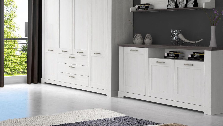 sideboard gasparo kommode anrichte in schneeeiche wei und pinie grau. Black Bedroom Furniture Sets. Home Design Ideas