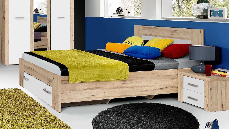 bett portland jugendbett in planked eiche und wei 140x200. Black Bedroom Furniture Sets. Home Design Ideas