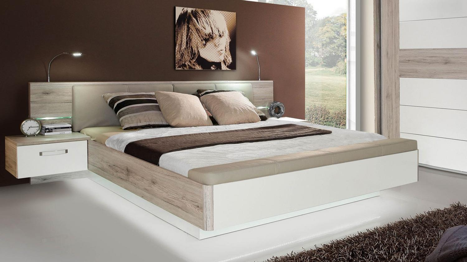 schlafzimmer 3 rondino komplettset in sandeiche wei hochglanz mit led. Black Bedroom Furniture Sets. Home Design Ideas