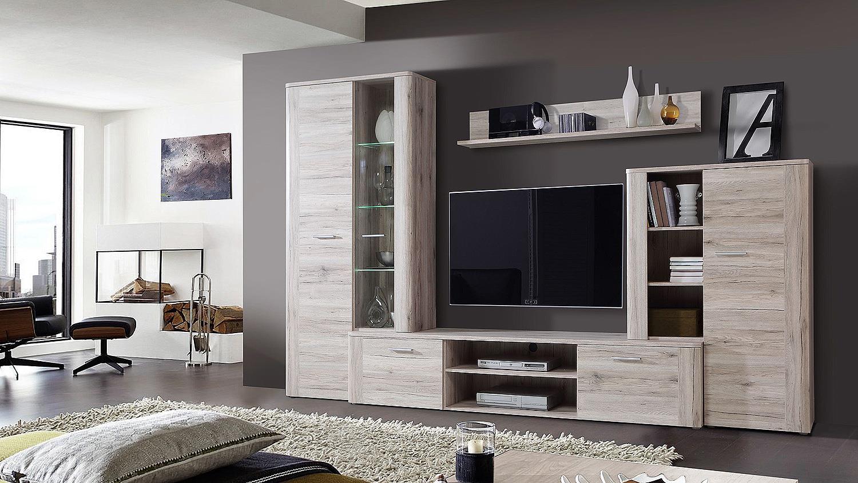 wohnwand big bang anbauwand wohnkombi in sandeiche mit led. Black Bedroom Furniture Sets. Home Design Ideas