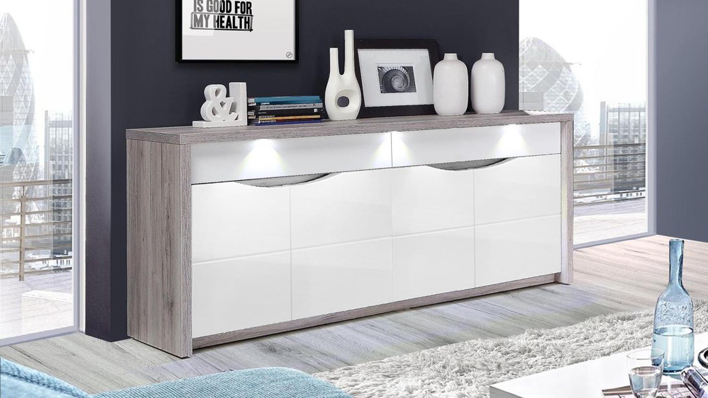 sideboard saint tropez wei hochglanz sandeiche mit led. Black Bedroom Furniture Sets. Home Design Ideas