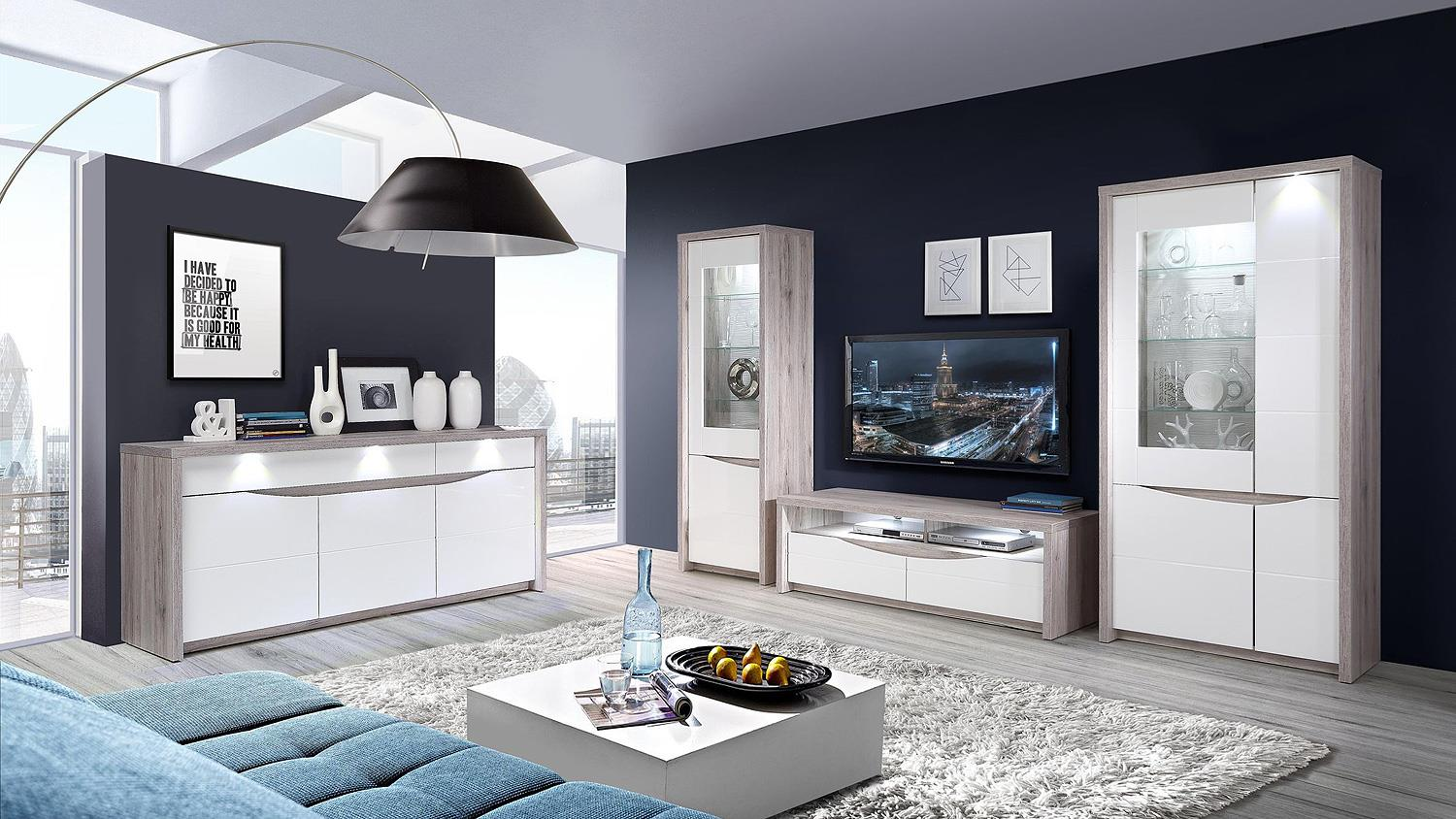vitrine saint tropez wei hochglanz sandeiche mit led. Black Bedroom Furniture Sets. Home Design Ideas