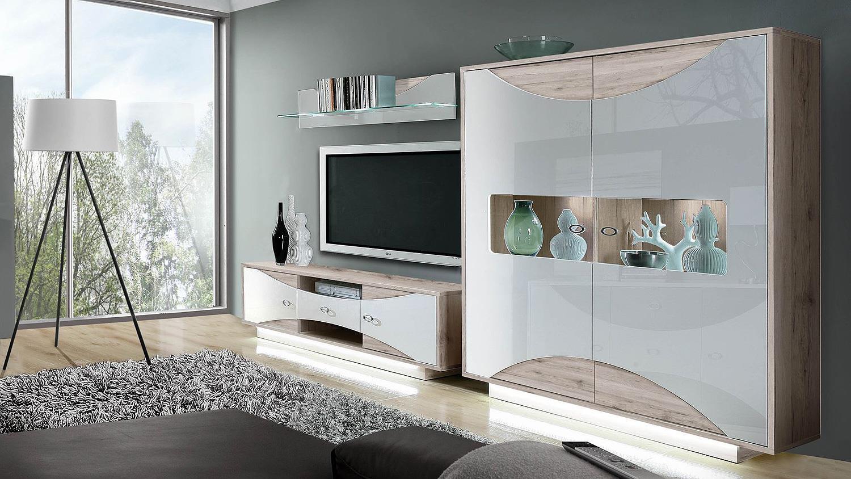 wohnwand 2 wave anbauwand wei hochglanz sandeiche mit led. Black Bedroom Furniture Sets. Home Design Ideas