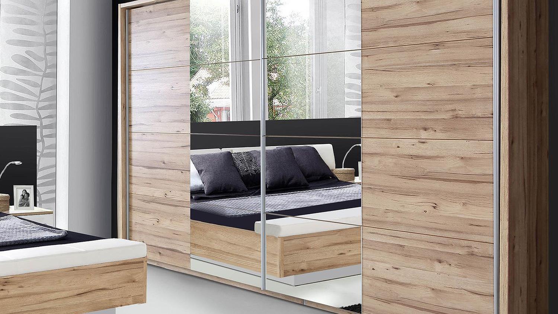 Schwebetürenschrank spiegel eiche  MINERO planked Eiche mit Spiegel 269 cm