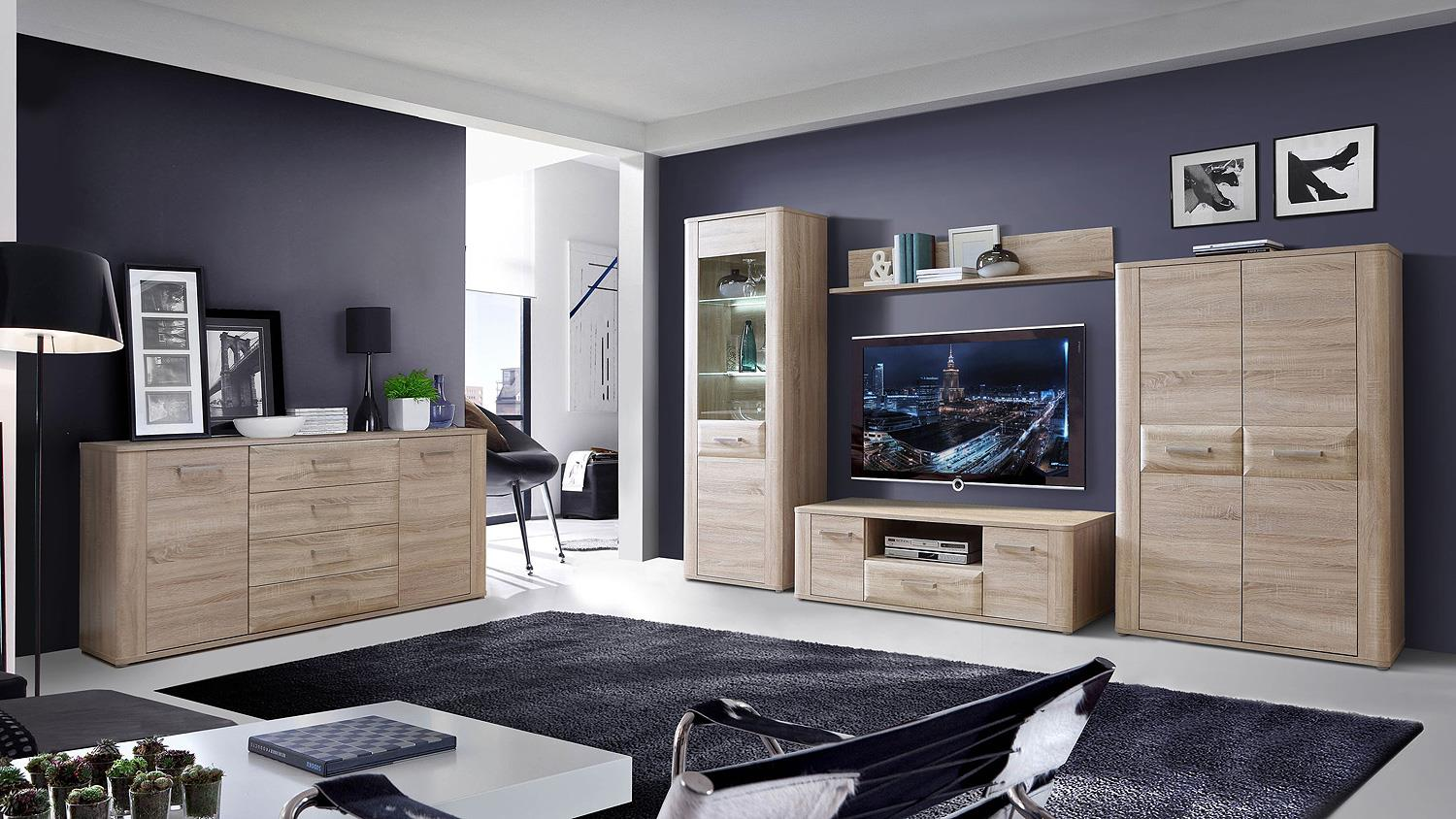 schrank aspence highboard wohnzimmerschrank in sonoma eiche. Black Bedroom Furniture Sets. Home Design Ideas