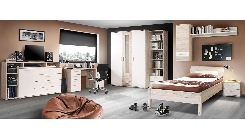 jugendzimmer beach 8 teilig mit schreibtisch sandeiche und wei. Black Bedroom Furniture Sets. Home Design Ideas