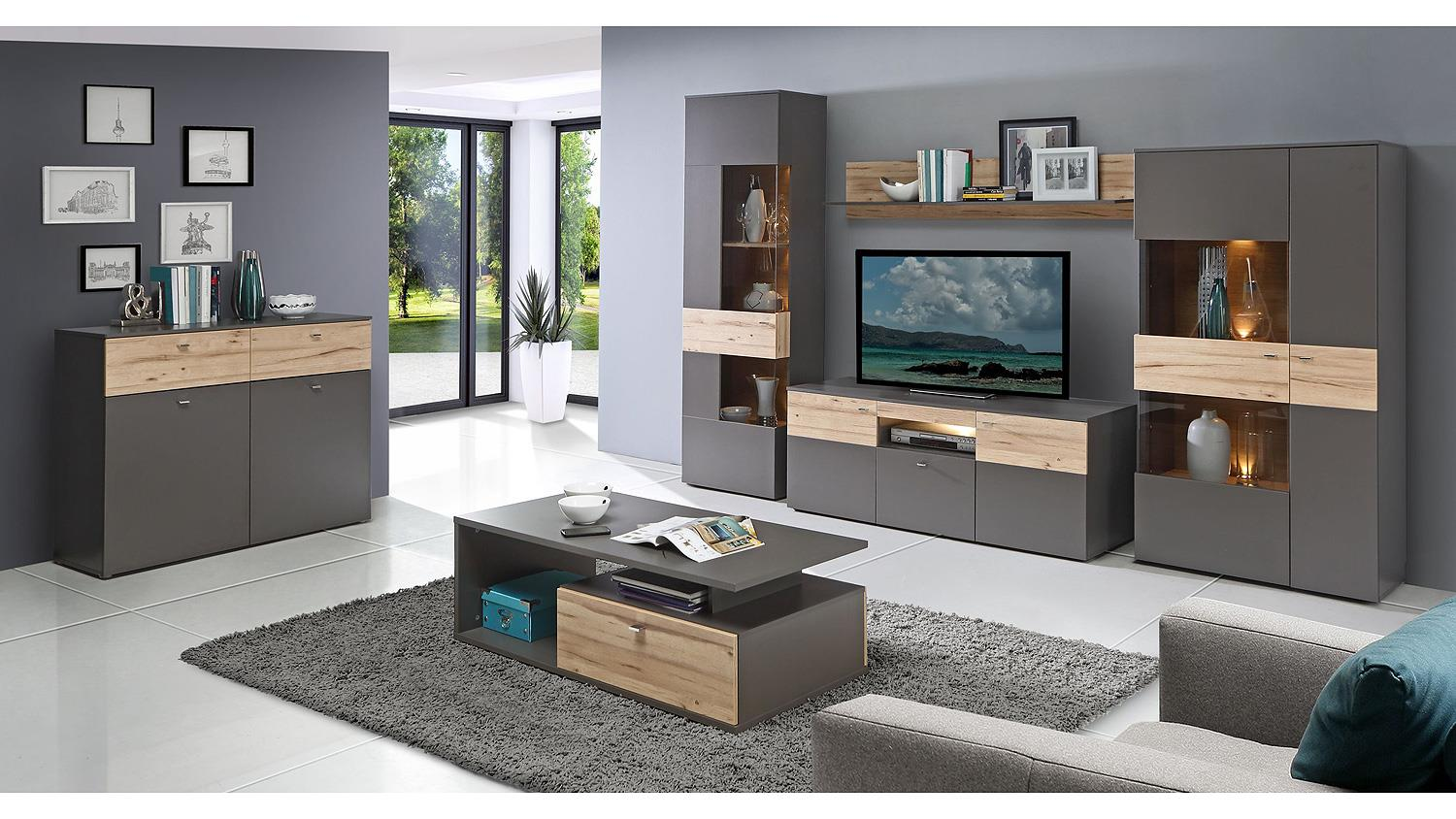 wohnwand como anbauwand in uni wolfram grau und planked eiche mit led. Black Bedroom Furniture Sets. Home Design Ideas