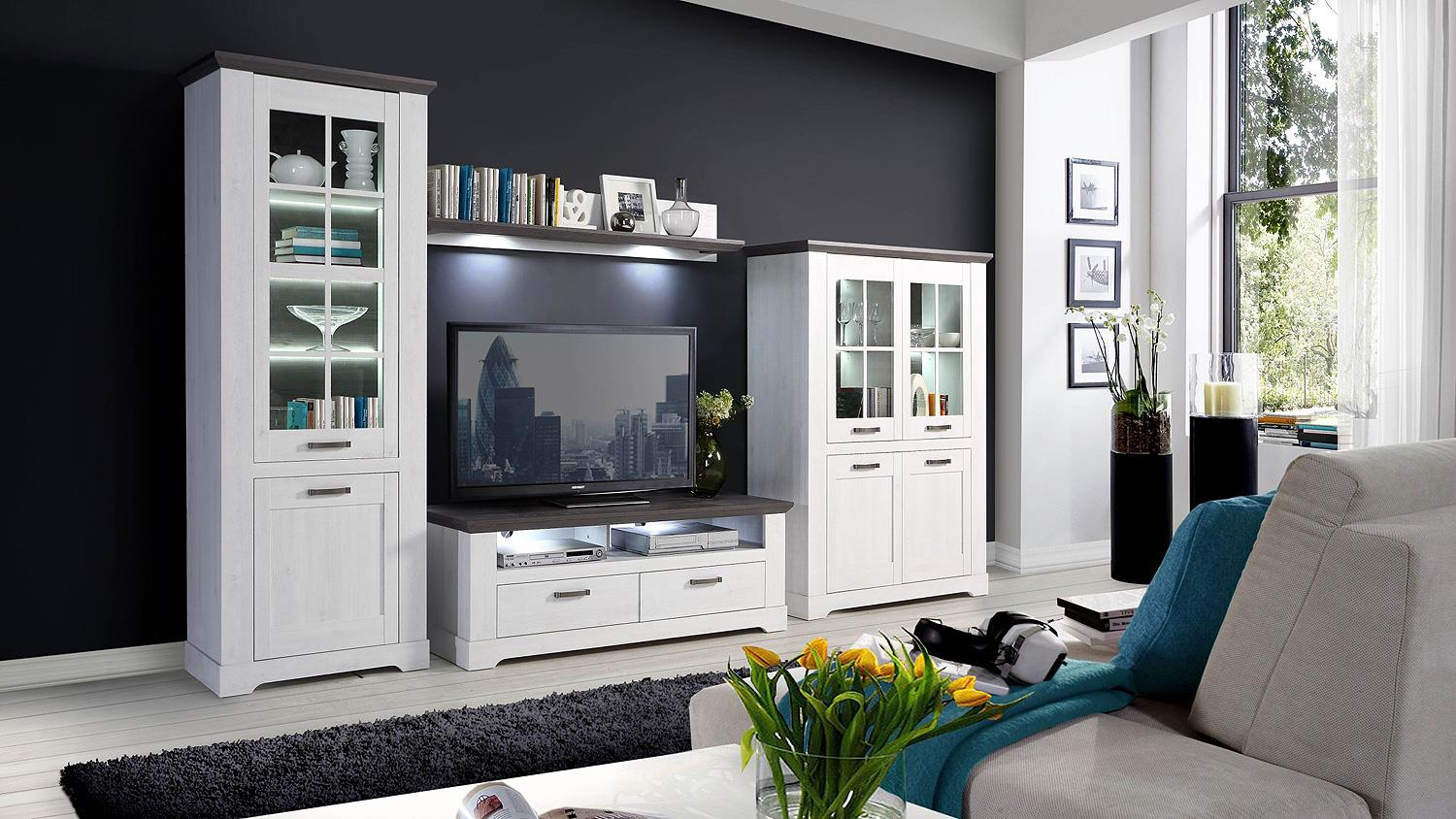 wohnwand gasparo anbauwand wohnzimmer in schneeeiche wei. Black Bedroom Furniture Sets. Home Design Ideas