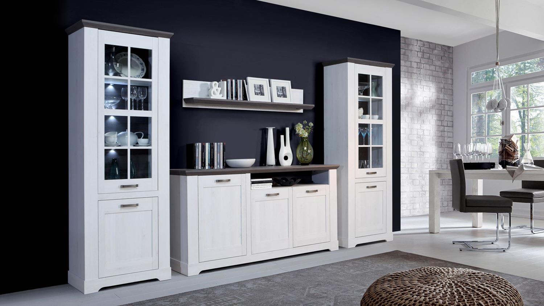 Design wohnwand anbauwand weiß grau  Wohnkombi GASPARO Wohnwand Anbauwand in Schneeeiche weiß Pinie grau