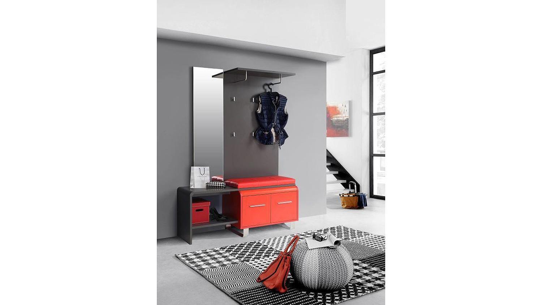 Garderobe gilmore flurm bel in uni wolfram grau und rot 125 cm for Garderobe rot