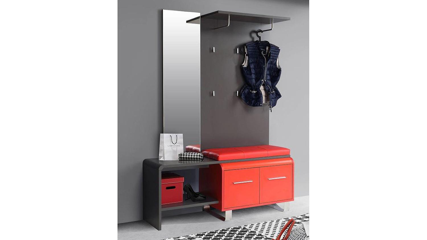 garderobe gilmore flurm bel in uni wolfram grau und rot 125 cm. Black Bedroom Furniture Sets. Home Design Ideas