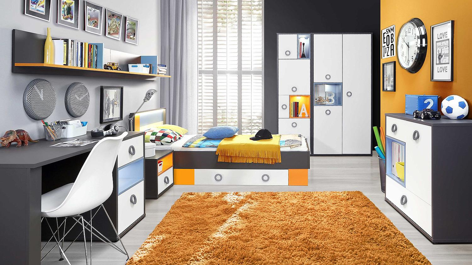bett colors jugendzimmer in uni wolfram grau wei orange. Black Bedroom Furniture Sets. Home Design Ideas