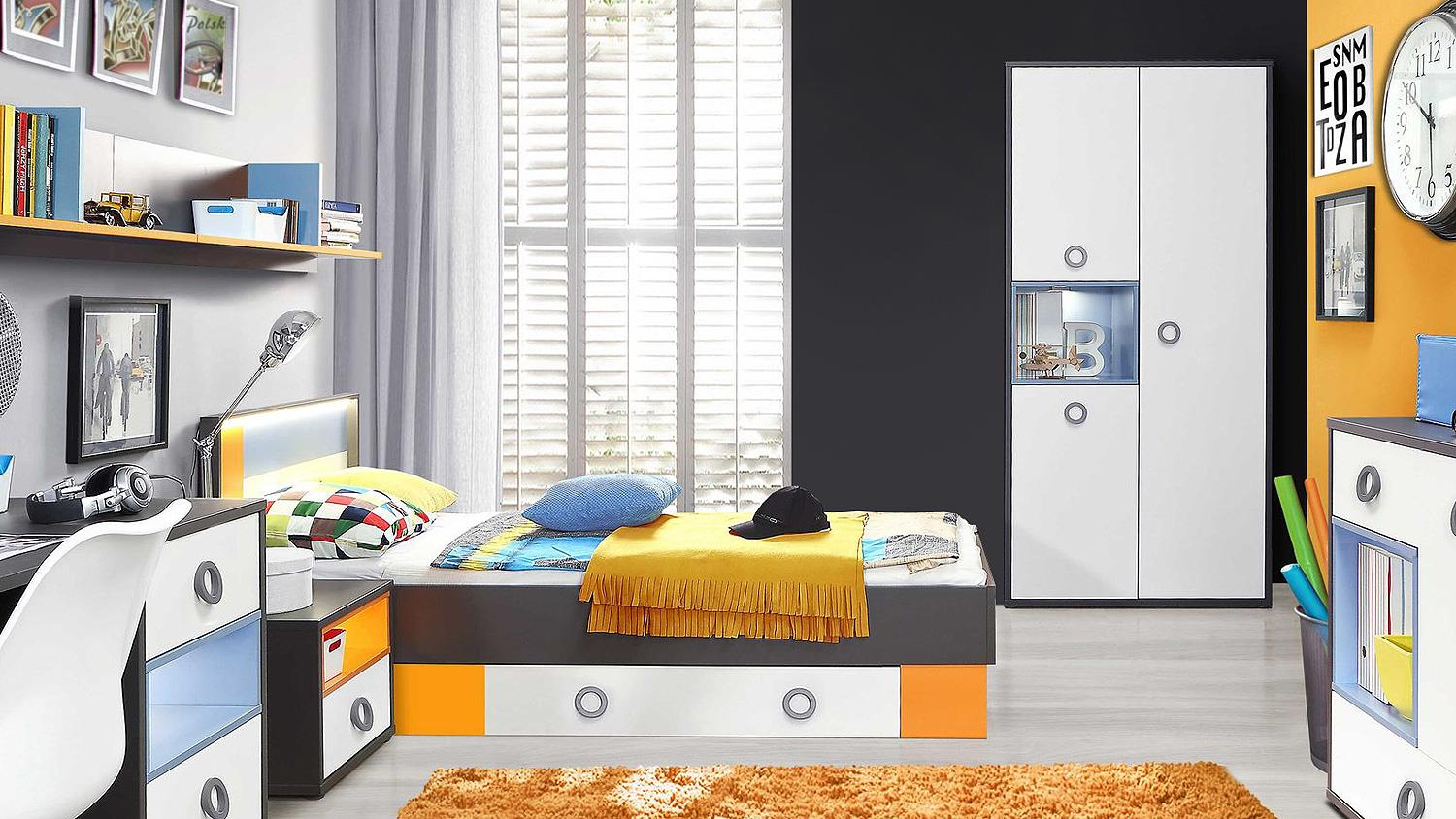 jugendzimmer colors kinderzimmer in uni wolfram grau wei orange blau. Black Bedroom Furniture Sets. Home Design Ideas