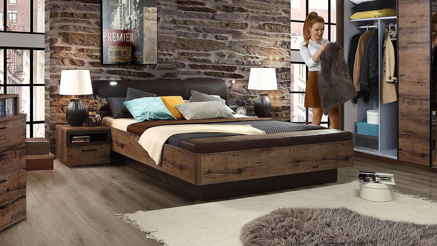 bett jacky schlafzimmer mit bank schlammeiche und. Black Bedroom Furniture Sets. Home Design Ideas