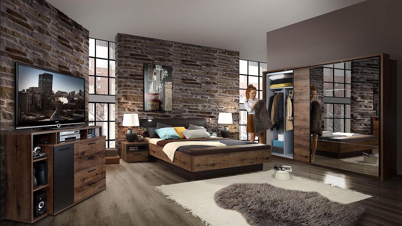 bett jacky schlafzimmer mit bank schlammeiche und schwarzeiche 180x200. Black Bedroom Furniture Sets. Home Design Ideas