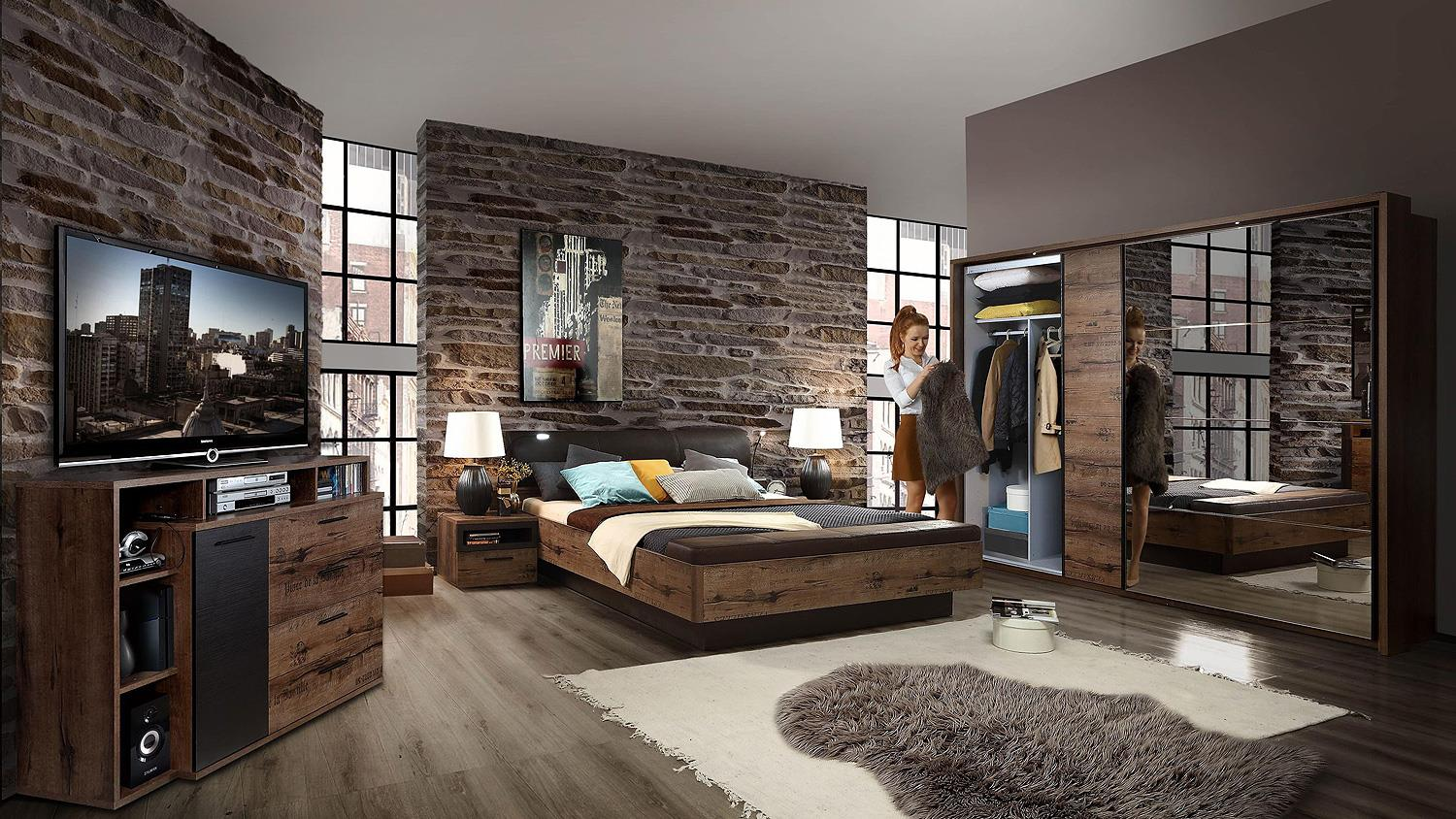 schlafzimmer set jacky bett schrank nako schlammeiche und. Black Bedroom Furniture Sets. Home Design Ideas