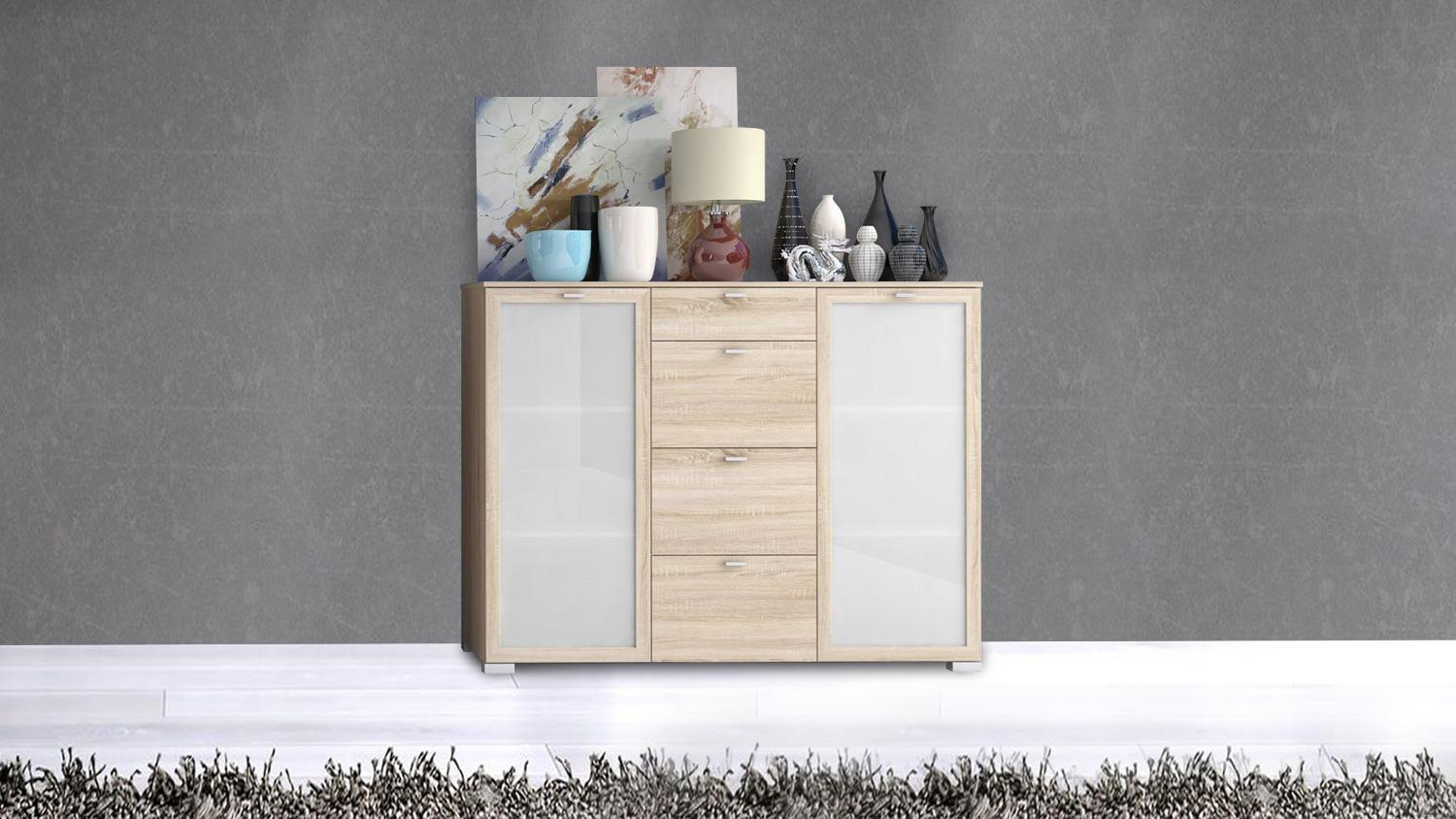 sideboard girona kommode hochkommode anrichte in sonoma eiche 150x116. Black Bedroom Furniture Sets. Home Design Ideas
