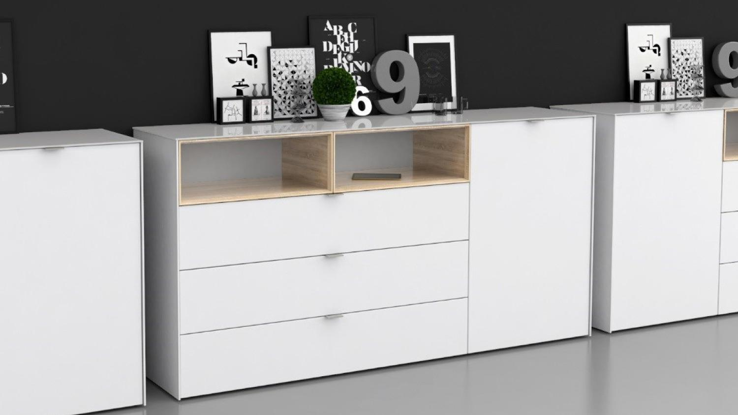kommode 2 stamford in wei sonoma eiche mit d mpfung und selbsteinzug. Black Bedroom Furniture Sets. Home Design Ideas