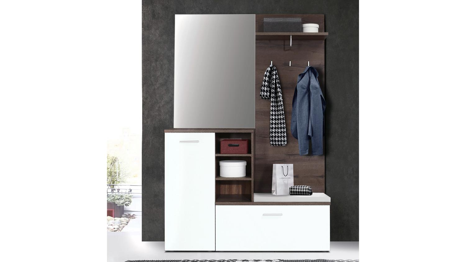 garderobe houston in schlammeiche und wei mit spiegel und sitzauflage. Black Bedroom Furniture Sets. Home Design Ideas