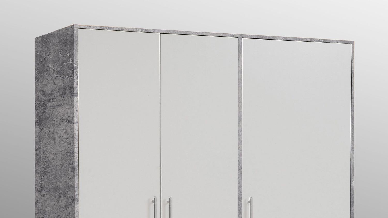 Kleiderschrank jupiter betonoptik und front wei mit 3 schubk sten - Kleiderschrank betonoptik ...