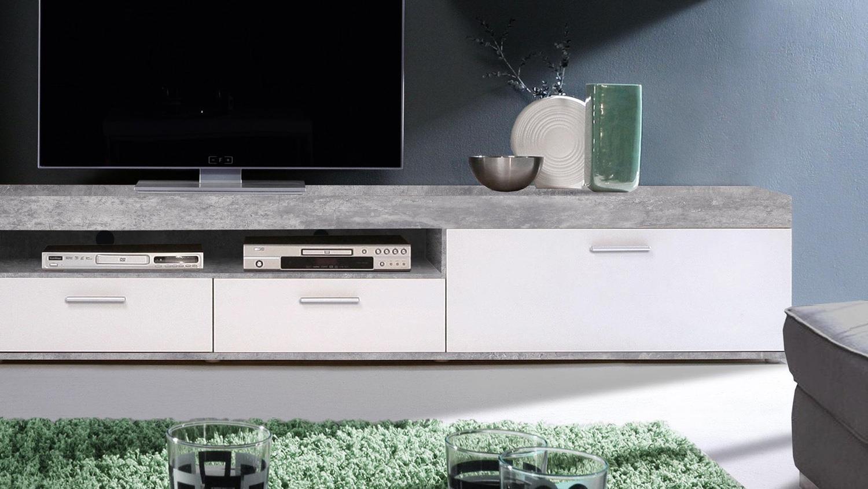 wohnwand zumba anbauwand in beton optik und wei inkl led. Black Bedroom Furniture Sets. Home Design Ideas