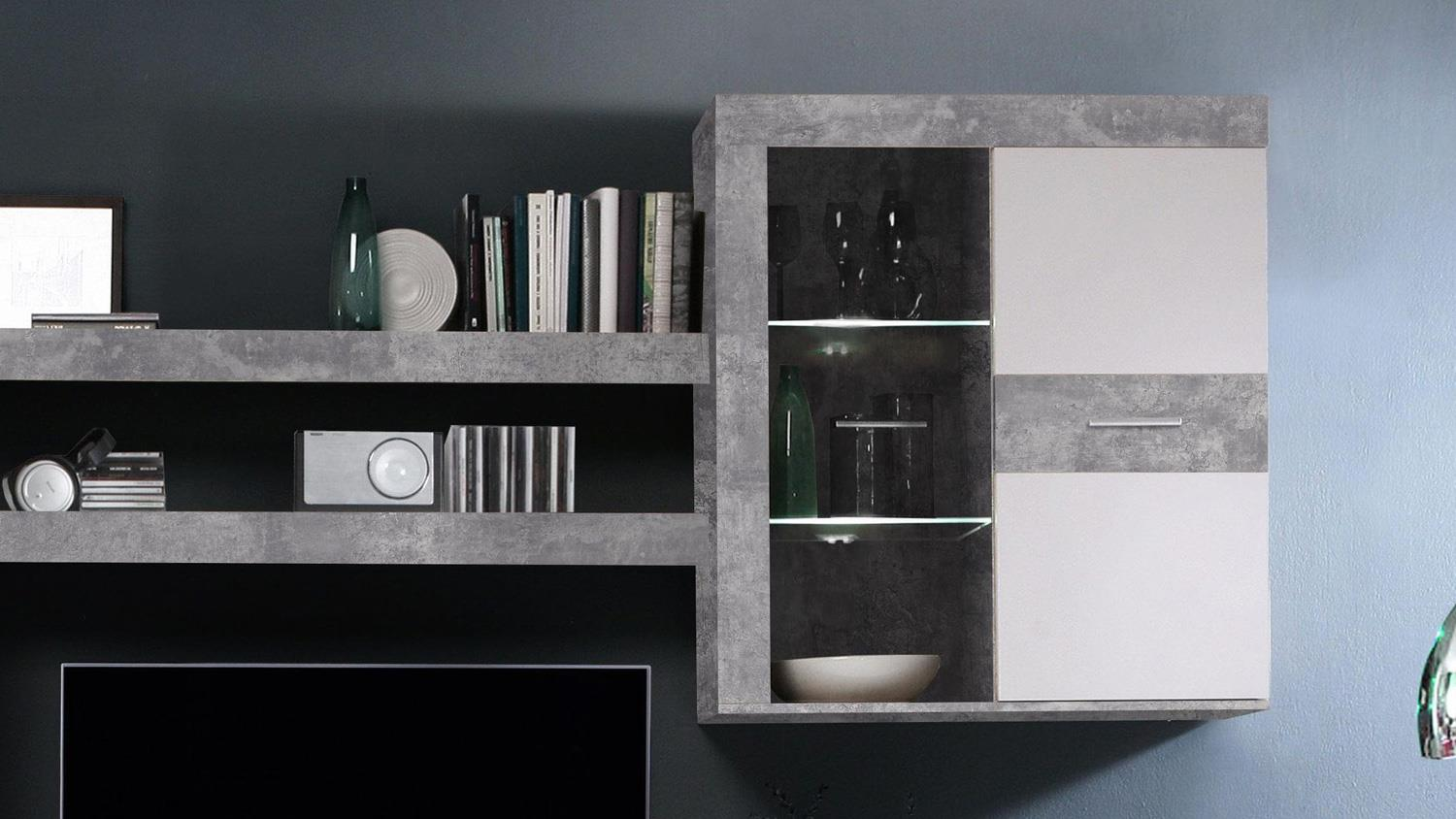 wohnwand zumba anbauwand in beton optik wei mit led beleuchtung. Black Bedroom Furniture Sets. Home Design Ideas