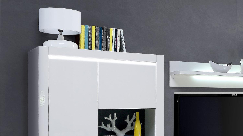 wohnwand l light anbauwand in mdf wei hochglanz inkl led. Black Bedroom Furniture Sets. Home Design Ideas