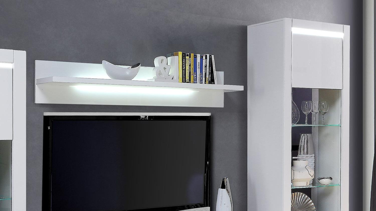 wohnwand l light anbauwand in mdf wei hochglanz inkl led lichtleiste. Black Bedroom Furniture Sets. Home Design Ideas