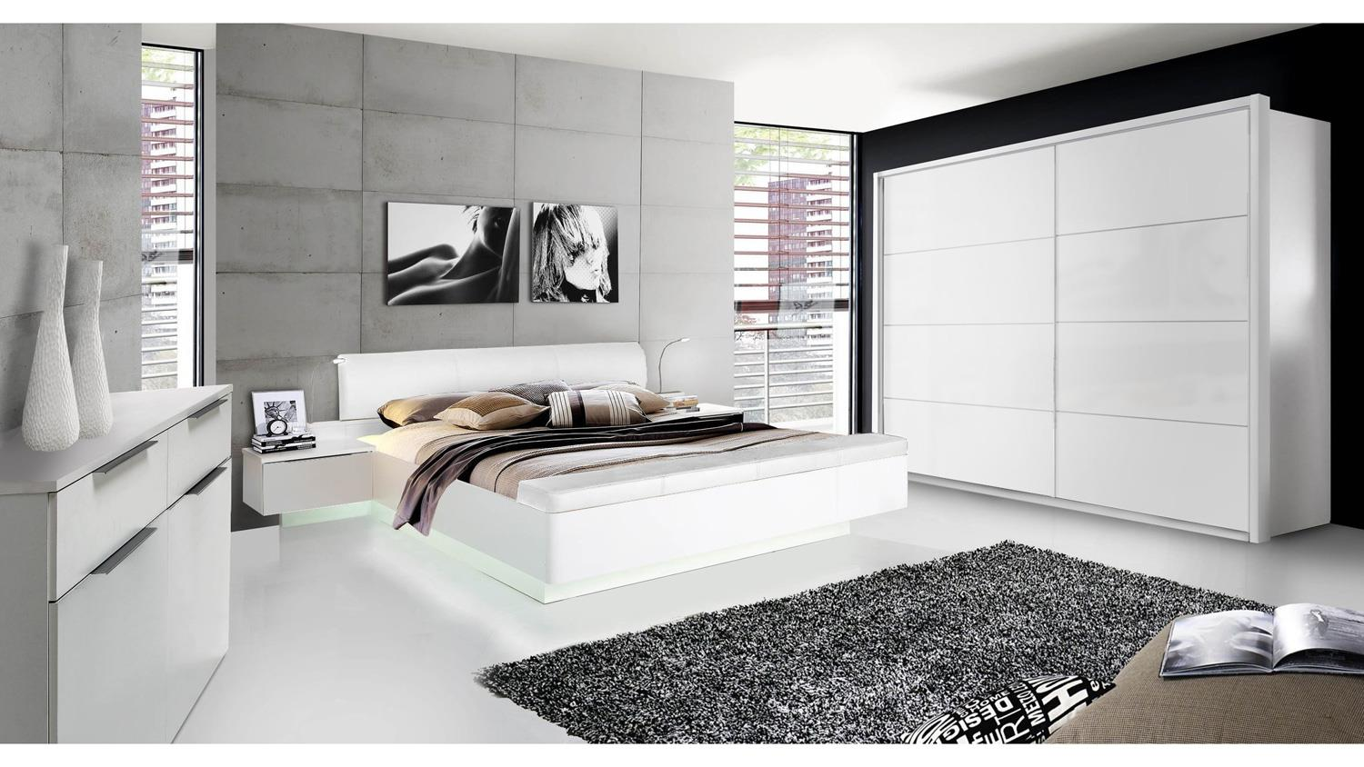 schlafzimmer starlet plus bettanlage schrank kommode in wei hochglanz. Black Bedroom Furniture Sets. Home Design Ideas