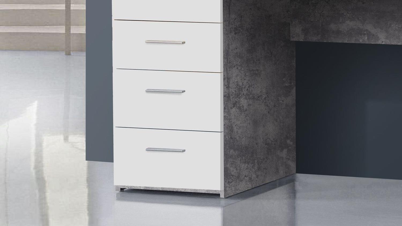 schreibtisch betonoptik net106 lichtgrau und wei matt 145x60 cm. Black Bedroom Furniture Sets. Home Design Ideas