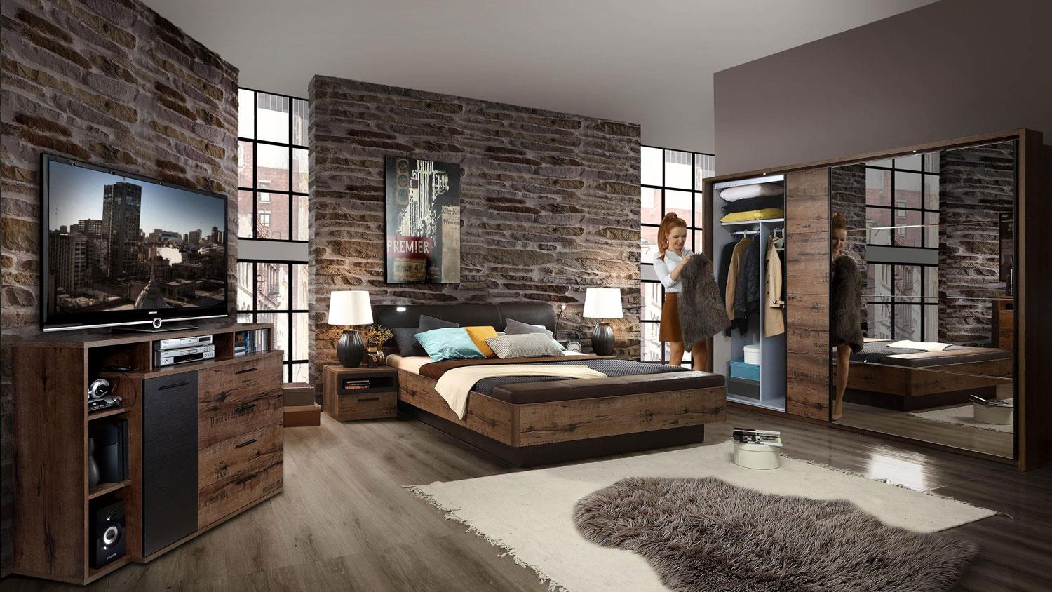 schlafzimmer komplettset jacky bettanlage schrank kommode. Black Bedroom Furniture Sets. Home Design Ideas
