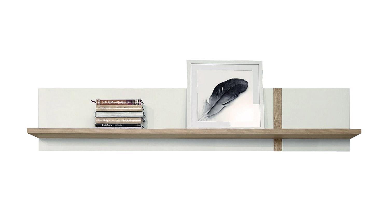 Wandboard BIANKO in weiß Hochglanz und Bianco Eiche mit 1 Ablage