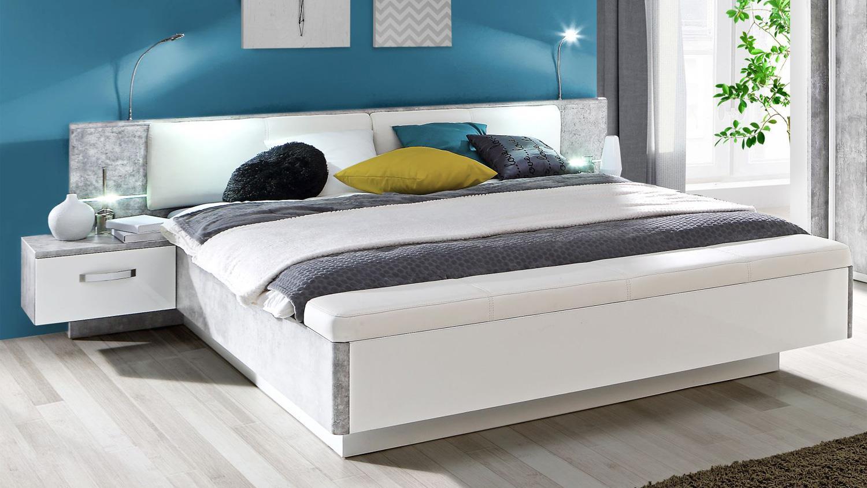 schlafzimmer set 1 rondino in betonoptik und wei mit led. Black Bedroom Furniture Sets. Home Design Ideas