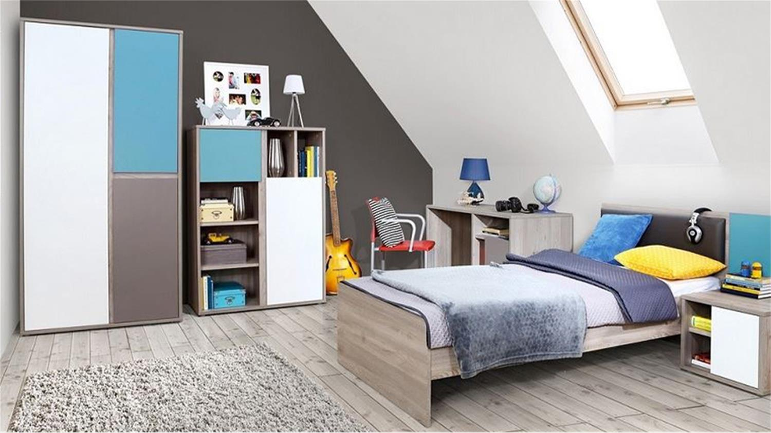 jugendzimmer sirsey kinderzimmer 5 teilig eiche und blau grau wei. Black Bedroom Furniture Sets. Home Design Ideas