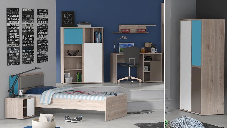 jugendzimmer sirsey kinderzimmer 5 teilig eiche und blau. Black Bedroom Furniture Sets. Home Design Ideas