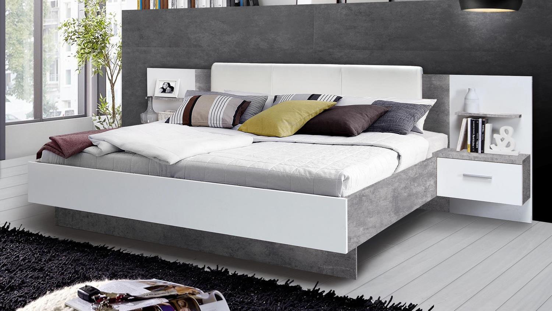 bettanlage ginger bett mit nachttisch wei und betonoptik. Black Bedroom Furniture Sets. Home Design Ideas