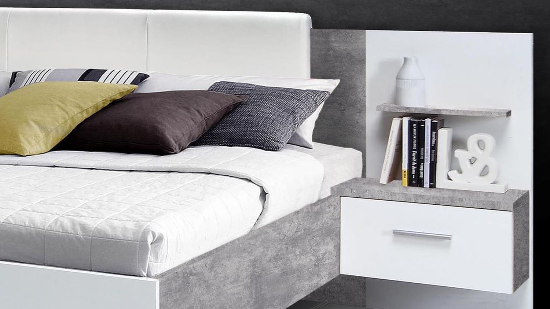 Bett Mit Nachttisch : bettanlage ginger bett mit nachttisch wei und betonoptik ~ Watch28wear.com Haus und Dekorationen